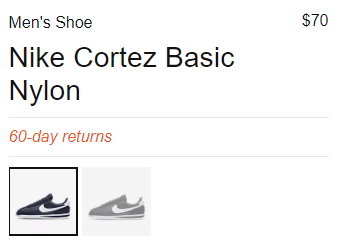 Pricing on NIKE product page