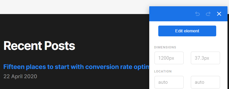Editing an element in Google Optimize
