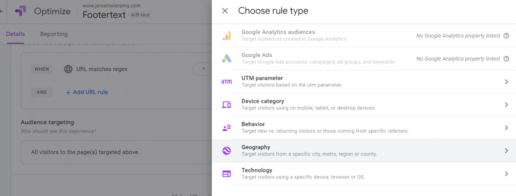 Rule type in Google Optimize