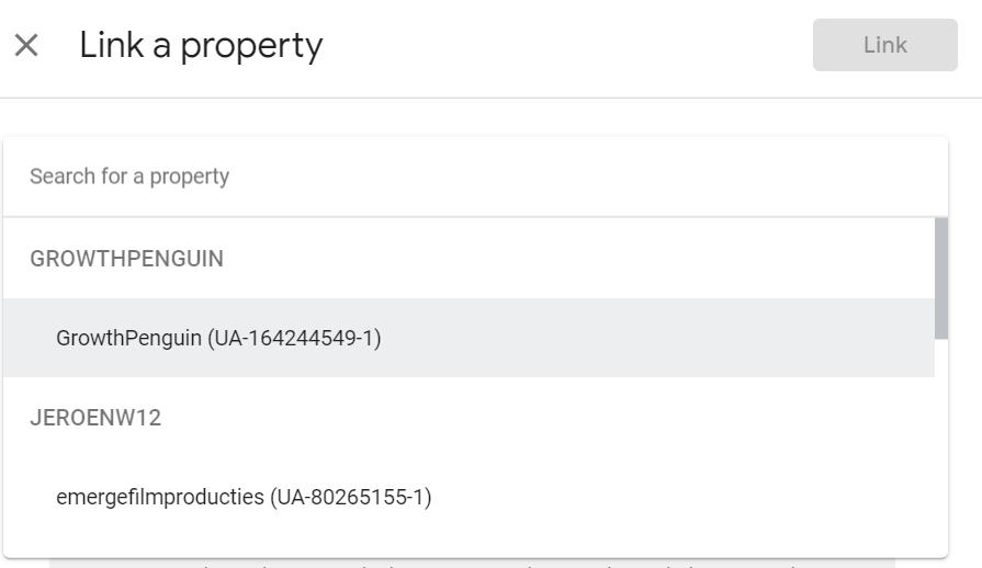 Linking a property in Google Optimize