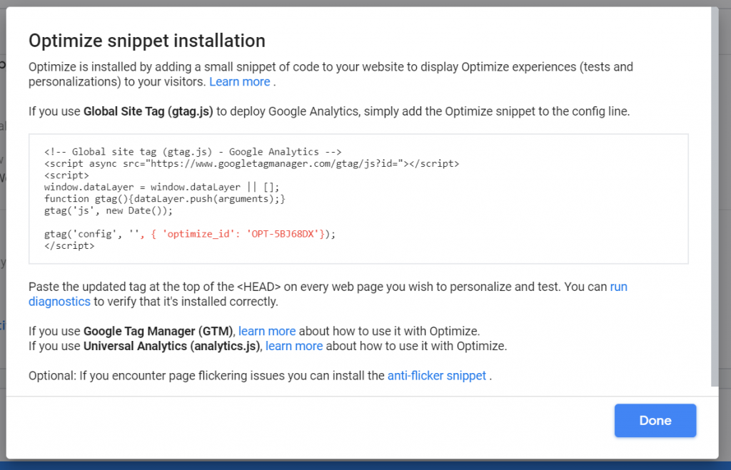 Google Optimize snipped installation pop-up