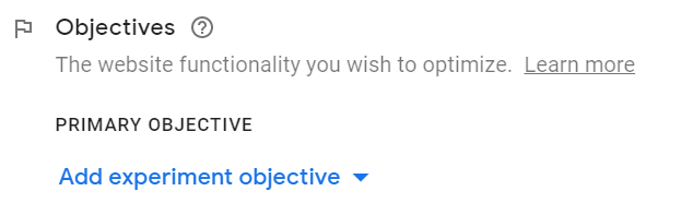 Objectives in Google Optimize