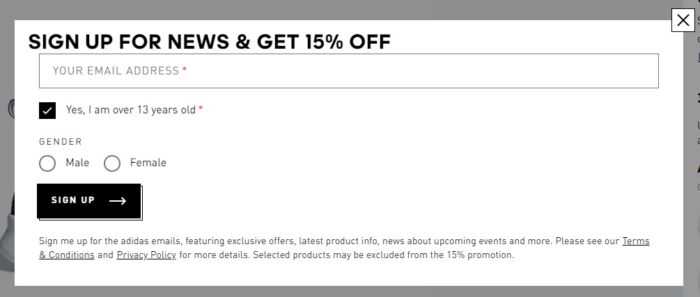Newsletter exit-intent Adidas