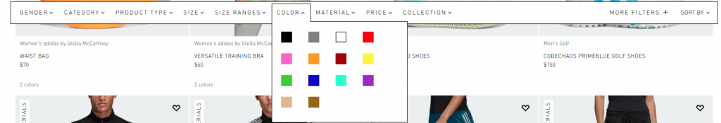 Filtering options category page Adidas