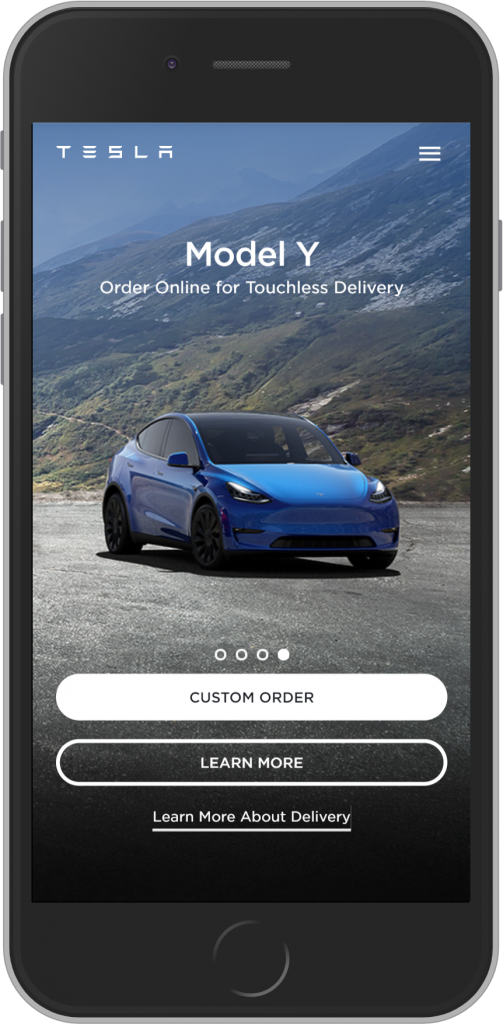 Tesla landing page value proposition example
