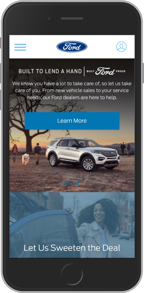 Ford landing page value proposition example