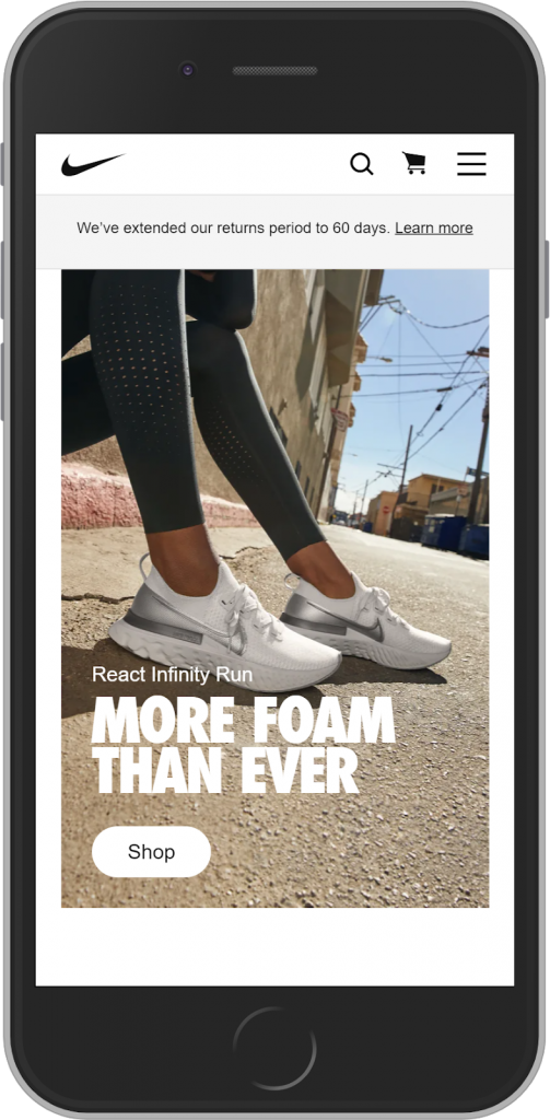 Nike landing page value proposition example