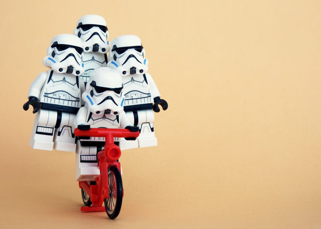 Multivariate testing visualized by stormtroopers sitting on a bike