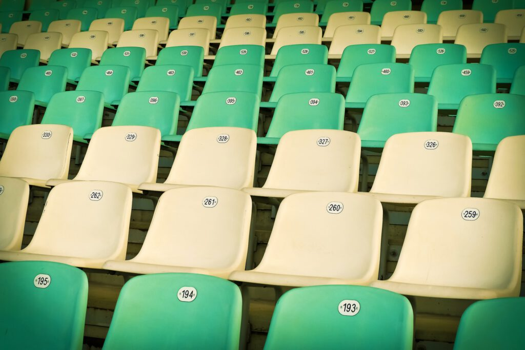 Sample size visualized with stadium chairs